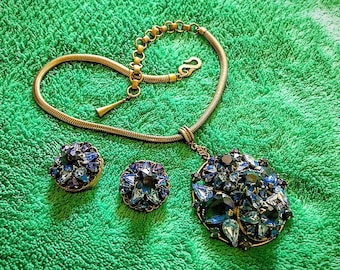 1940s SORRELL Runway Rhinestone Encrusted Blue Gold Necklace Earring Set