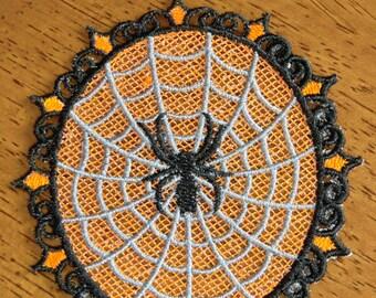 Embroidered Magnet - Halloween Spider & Web - Orange