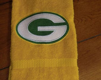 Embroidered Terry Hand Towel - Green Bay Packer - Yellow Towel