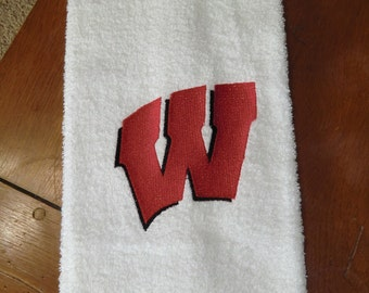 """Embroidered Terry  Hand Towel - Wisconsin """"W"""""""