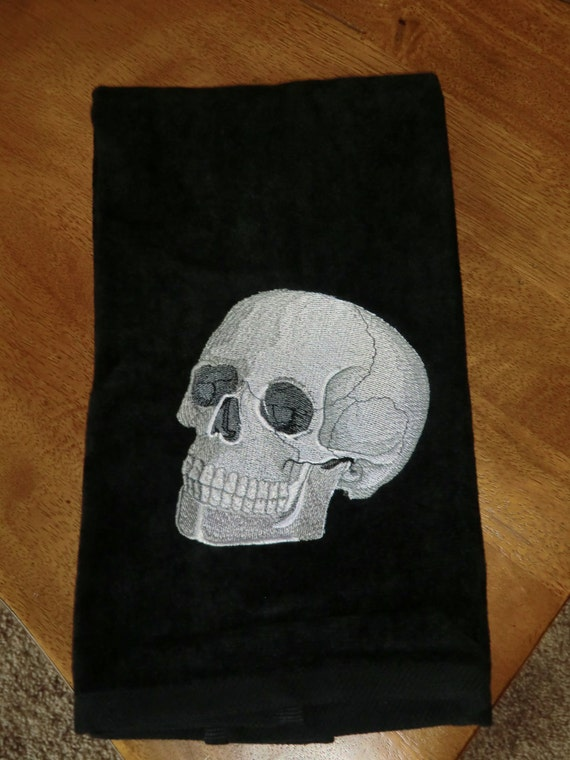 Skull Bathroom Decor: Embroidered Velour Hand Towel Halloween Skull Black