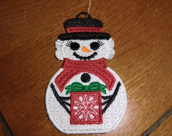Embroidered Ornament - Christmas - Snow Woman - Small