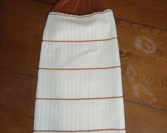 Sonoma Rust  & Cream Vertical Stripes  Knit Top Kitchen Towels