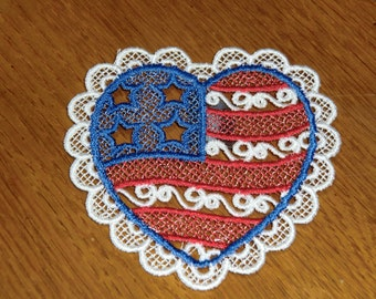 Embroidered Magnet - 4th of July Red, White & Blue Heart