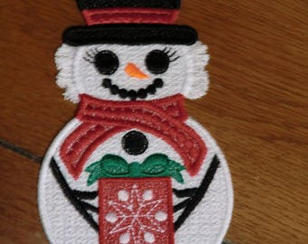Embroidered Ornament - Christmas - Snow Woman - Large