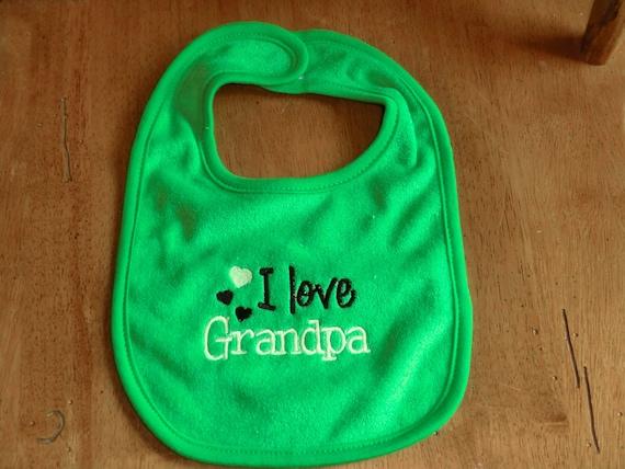 Embroidered Baby Bib I Love Grandpa Girl