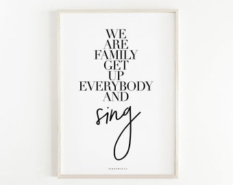 We Are Family Print. Quote Prints, Bedroom Décor, Typography Print, Art Print, Large Wall Art