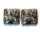 Modern Tri Colored Square Sterling Silver Clip Earrings Mexico