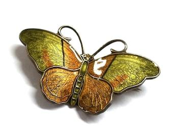 Earth Tones Detailed Enamel Norway Hroar Prydz Butterfly Pin Vintage Sterling Silver