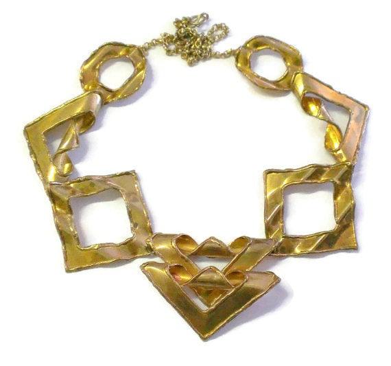 Mid Century Modernist / Brutalist Brass Necklace