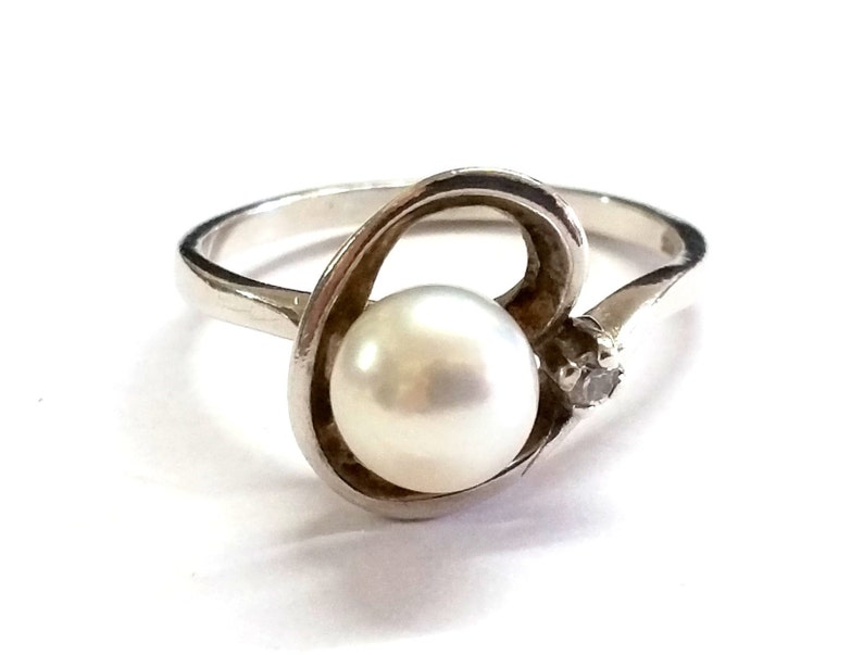 Fine Jewelry Sterling Silver Pearl Ring Size 7
