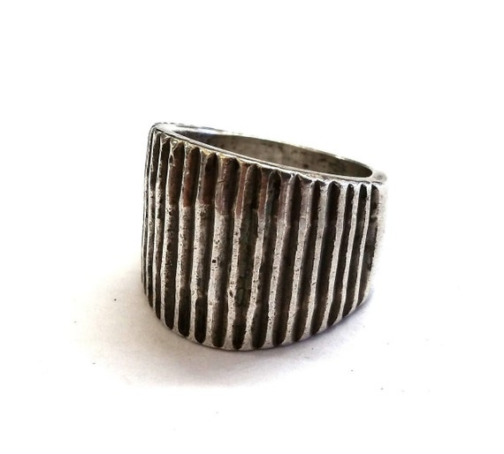 Modern Mexican Sterling Silver Ribbed Ring Wide Ba