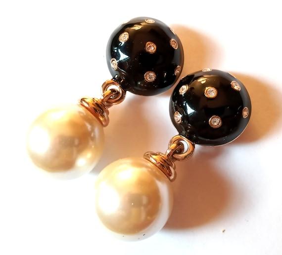 Huge Carolee Double Ball Dangle Clip On Earrings