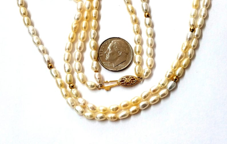 14k Double Strand Fresh Water Pearls and Gold Ball Necklace