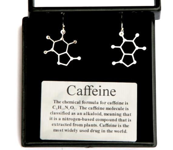 Caffeine Molecule Earrings Science of caffeine earrings molecular structure  of caffeine on sterling silver lever back ear wires caffeine