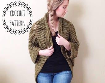Cozy Cocoon Sweater, crochet pattern, crochet, cocoon sweater, puff stitch, sweater, shrug, cardigan, handmade
