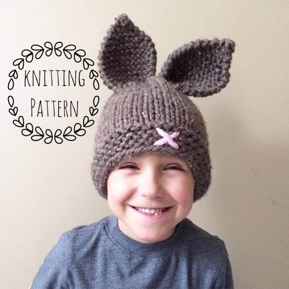 Rustic Knit Bunny Toque, Knitting Pattern,Knit Hat, Knit Hat Pattern ...