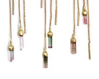 NEW ! Tourmaline gold earrings with rought natural gemstone