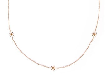 Yellow gold necklace gold star necklace  - Orion - Cocteau inspiration - 18 ct yellow gold