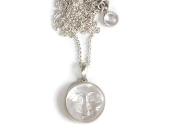Crystal carved moon long neckpiece silver 925
