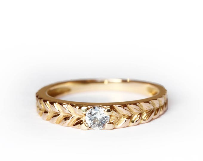 Size us 6 1/2 - UK N - Round solitaire Josephine's band - 18ct rose gold & morganite