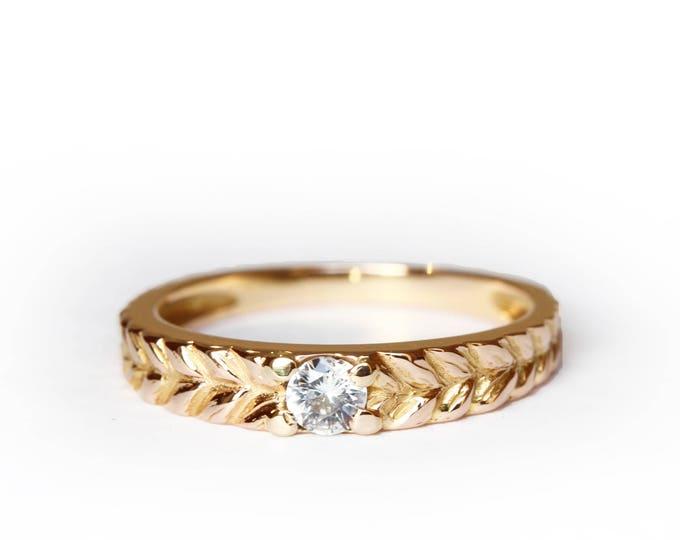 Round solitaire Josephine's band - 18ct - white sapphire
