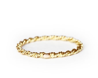 Size US 6 - UK M - Juliette's stackable band - 18 ct gold - rope thin ring Ready to ship!