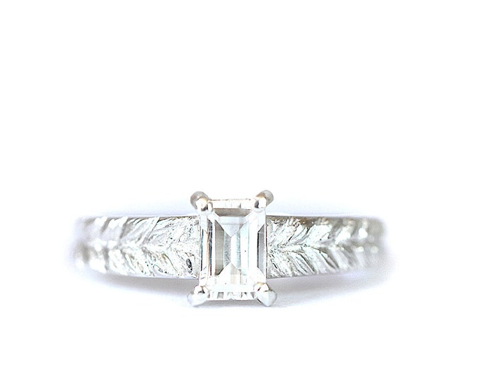 SIZE US 5 to7 Silver Josephine's ring - braid texture ring - white topaze and silver 925 - birthstone november