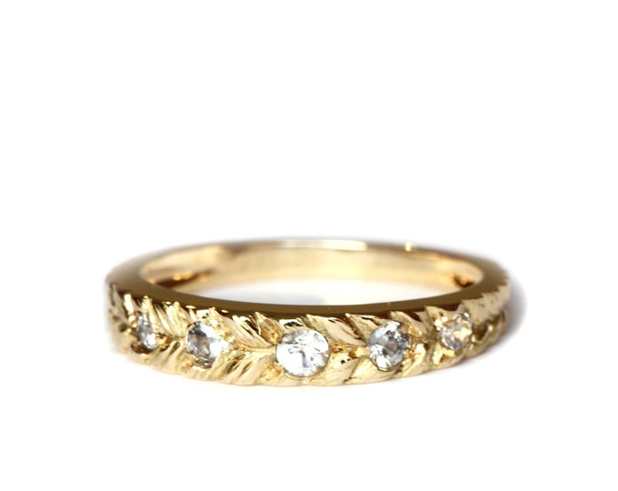 Featured listing image: Size US 6  Josephine's eternity band 5 white sapphire - 18 ct gold