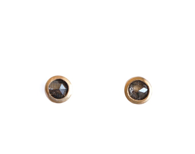 Featured listing image: Stud earrings mini dune 18ct brushed gold and rosecut diamond