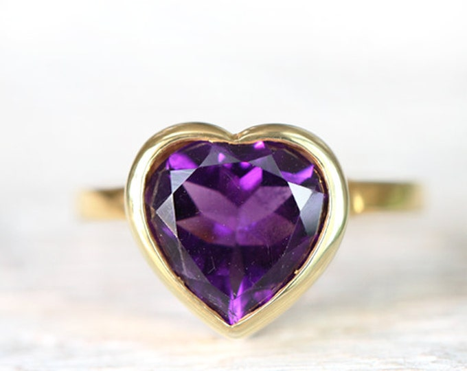 Size US 4 - UK G - amethyst heart ring - 18ct  yellow gold plated on silver 925 - birthstone february - Ready to Ship!