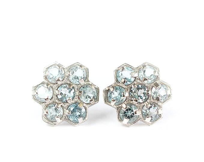 Earrings gemstones clusters - sky blu topaz - silver 925 - geometric pattern earrings - sky blu topaz jewelry