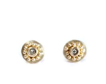 Stud earrings mini dune 18ct brushed gold and rosecut diamond