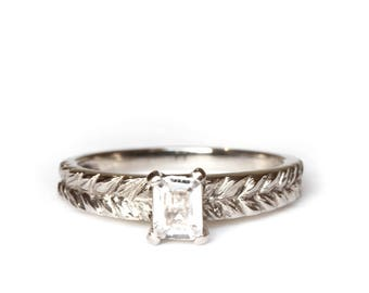 Size US 6 1/2  radiant cut white sapphire - Josephine's ring - 18 ct grey gold