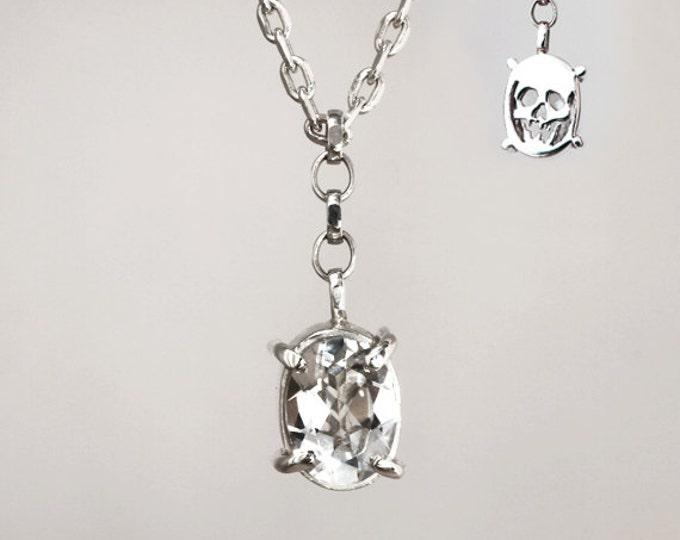 Necklace Memento Mori - talisman - white topaz - ready to ship