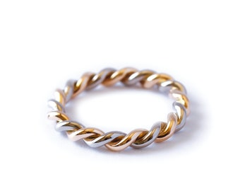 3mm twisted gold band - twisted ring - wedding band - women wedding band - gold ring - rose gold - yellow gold - grey gold