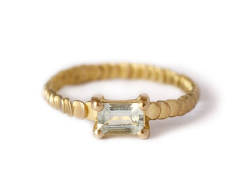 Beryl  and gold ring Frieda style -textured with granulation band