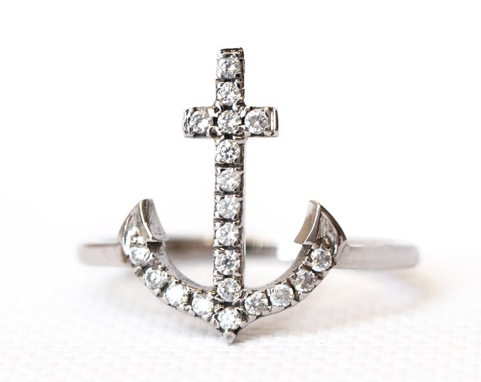 Diamond anchor ring - 18ct gold - nautical - sailor style - made to order