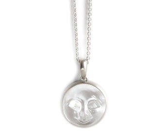 Crystal carved moon long neckpiece - silver