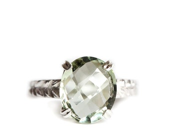 Green quartz rose cut silver Josephine's ring - cocktail ring  with checkerboard gemstone