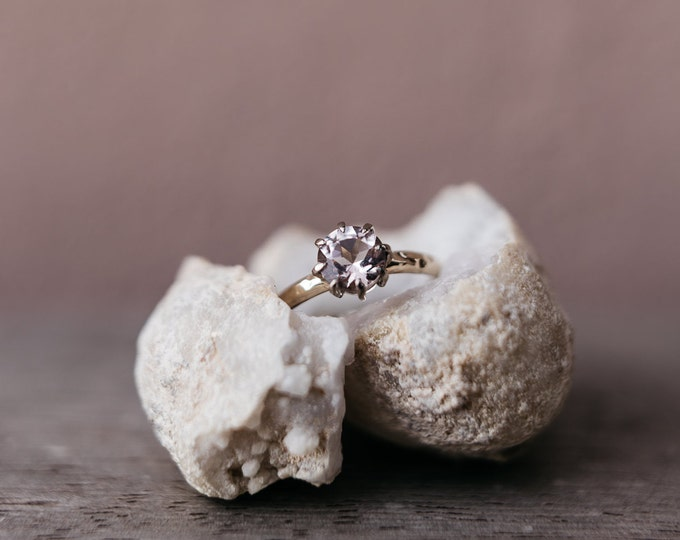 Featured listing image: Size US 8 1/2 - UK Q 1/2 - hammered morganite ring  18ct grey gold -  Ready to ship!