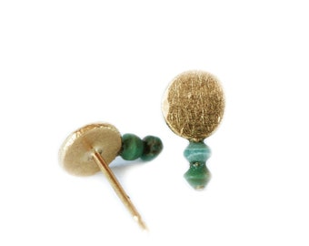 Turquoise and gold stud earrings - mini luna style - ethical jewellery