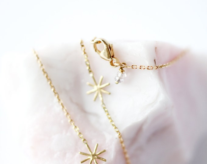 Featured listing image: Yellow gold necklace gold star necklace  - Orion - Cocteau inspiration - 18 ct yellow gold