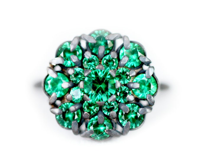 SIZE US 5 - UK J - Cluster ring with blackened silver and  alpinite gemstone - vibrant green gemstones