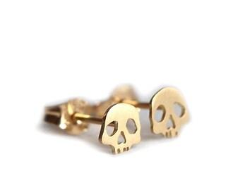 Skull studs earrings memento piercing 18ct gold