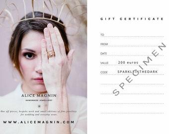 200 euros gift certificate digital  voucher card