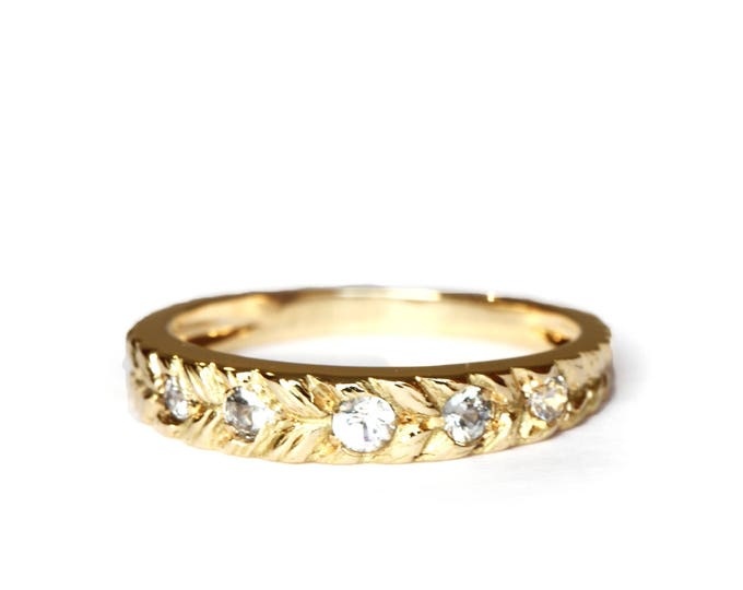 Size US 6 - UK M - Josephine's eternity band 5 white sapphire - 18 ct gold