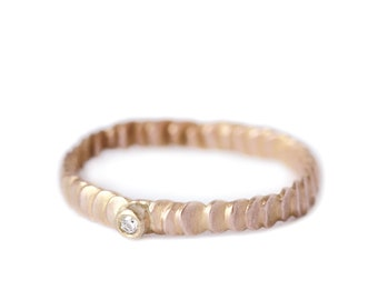 Size 5 tiny diamond and yellow gold band - Frieda stackable ring