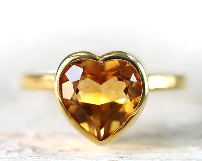 Size US 5 1/2 - UK L - heart shape ring 18 ct yellow gold plated - bright citrine - Ready to ship!