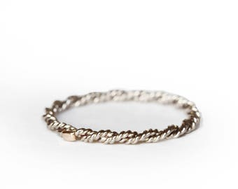 Stackable minimalist ring 18 ct grey gold Juliette's style